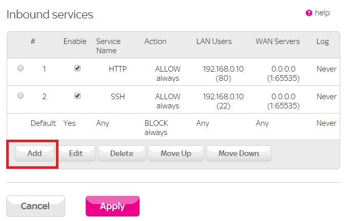 Sky Hub Security Firewall Rules Inbound services