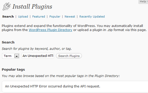 Wordpress - An Unexpected HTTP Error occurred during the API request