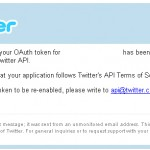 WordPress – Twitter Tools Plugin – Twitter – Application suspension notice