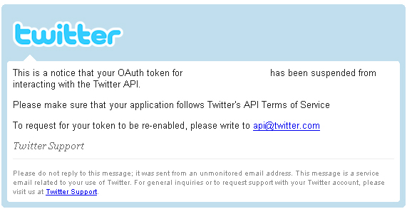 Twitter Application suspension notice