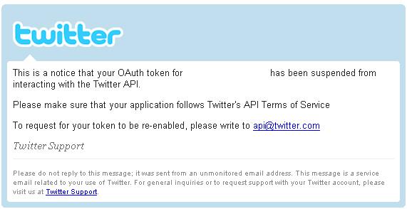 Twitter Application suspension notice