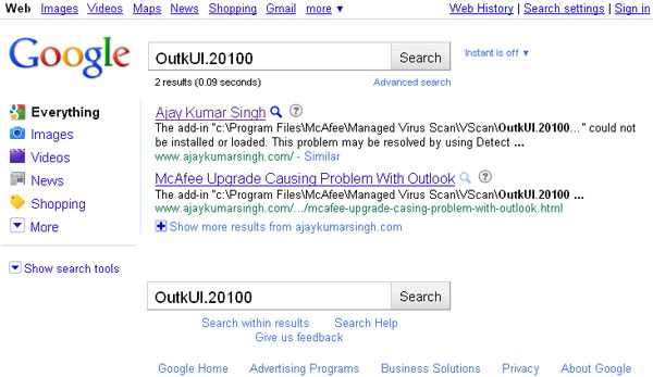 Google Search Result for OutkUI.20100