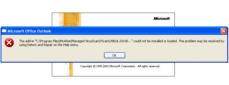 McAfee Upgrade Causing Problem With Outlook
