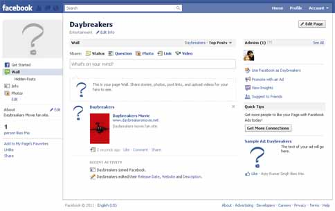 Daybreakers.net facebook page wall