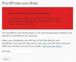 WordPress.com Stats Plugin Error – Error from last API Key attempt