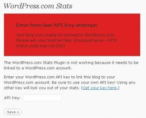 WordPress.com Stats Plugin Error – Error from last API Key attempt