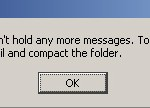 The folder Inbox is full and can't hold any more messages