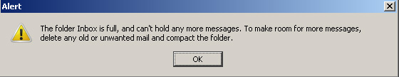 Mozilla Thunderbird - The Folder Inbox Is Full