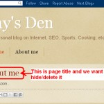 How to delete page title in blogger