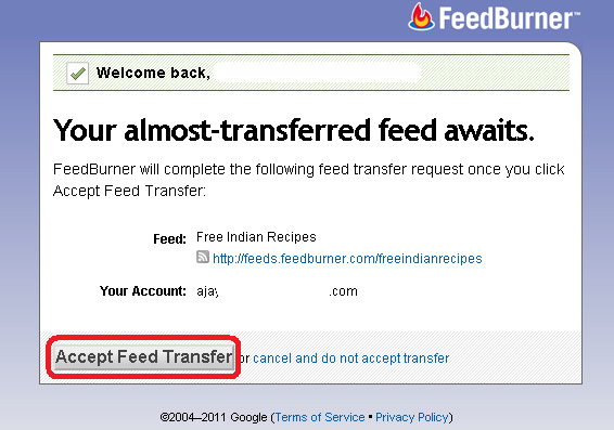 Feed Transfer Confirmation