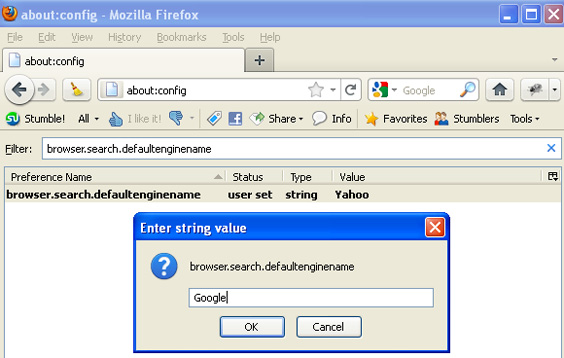 Changing default search engine in Firefox - Step 2