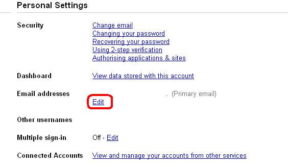 Google Accounts - Personal Settings