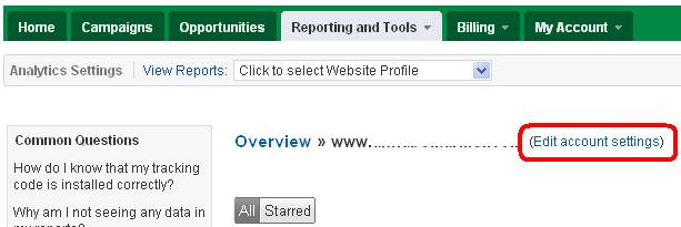 Google AdWords -> Google Analytics ->Edit Account Settings