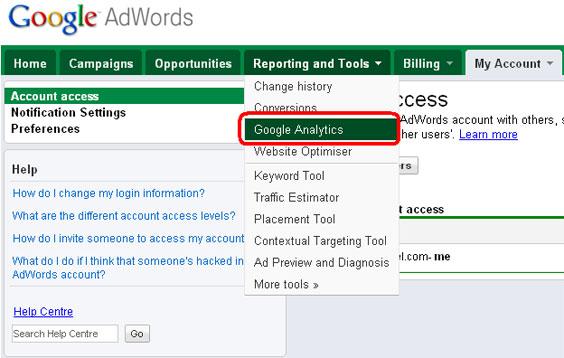 Google AdWords -> Google Analytics