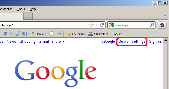 Google Search Settings in Firefox