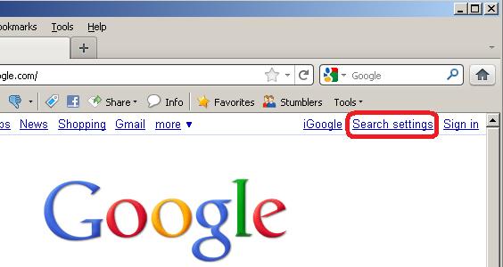 Google Search Settings in Firefox