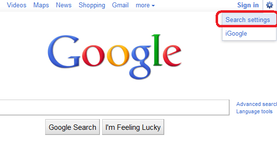 Google Search Settings in IE