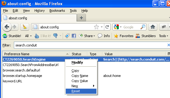 Resetting Conduit Search Engine Parameters In Firefox Browser