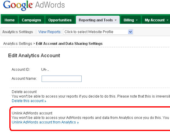 Unlink AdWords Account