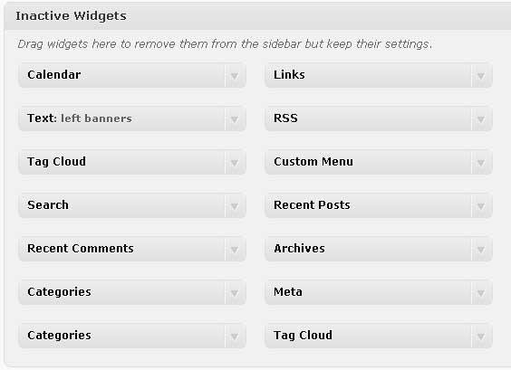 WordPress Inactive Widgets