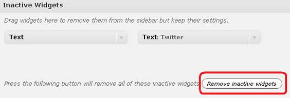 Wordpress - Remove Inactive Widgets Plugin