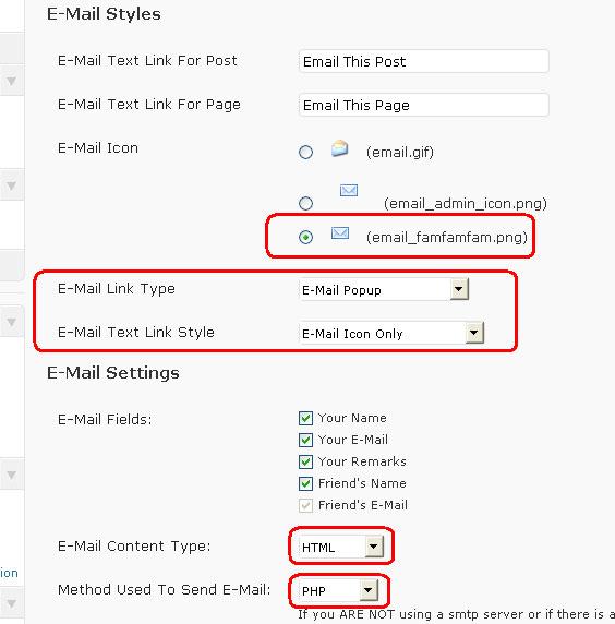 WordPress WP-Email Settings