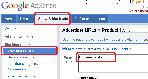 Google AdSense - Block Advertiser