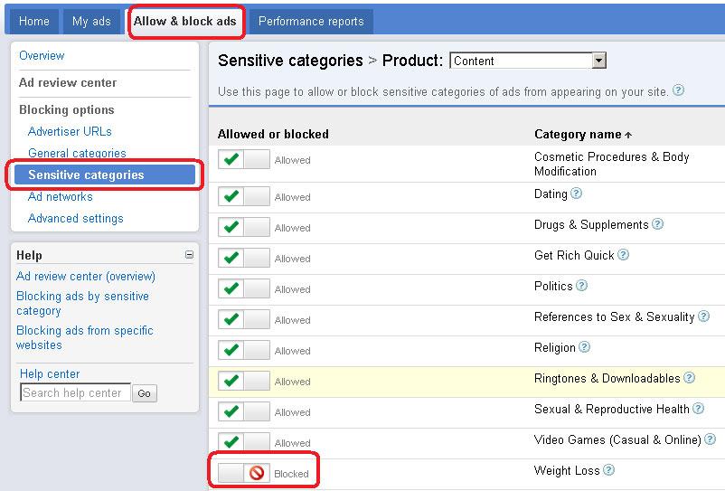 Block Weight Loss Advert In Google AdSense New Interface