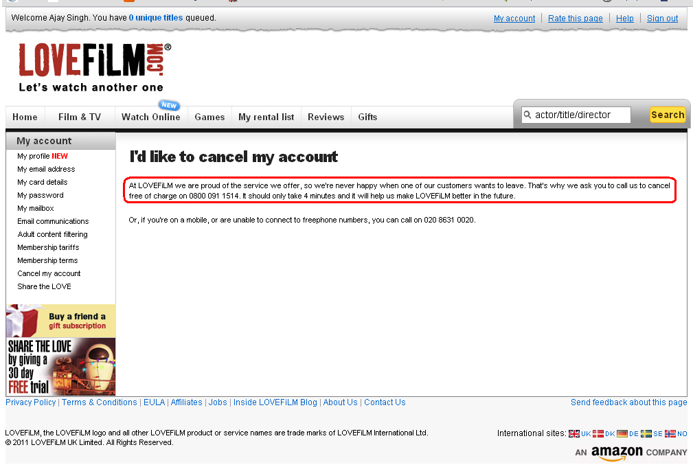 LoveFilm.com Account Cancellation Page