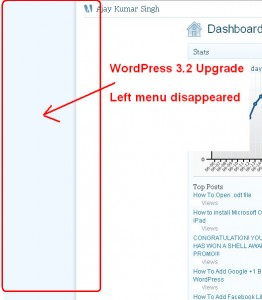 WordPress 3.2 Admin Menu Doesn't Show