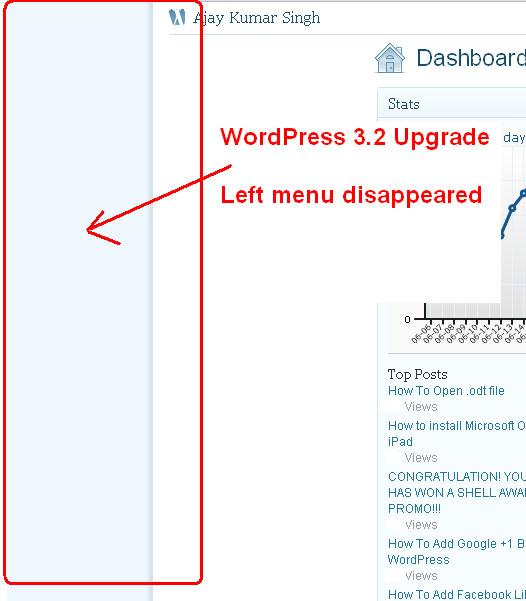 WordPress 3.2 Upgrade - Admin Menu Doesn't show
