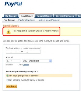 This recipient is currently unable to receive money.