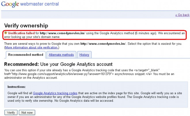 Google Webmaster Central - Verification Failed