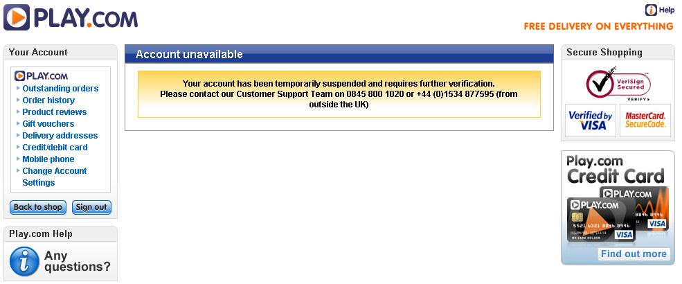 Play.com - Account Suspension Notice