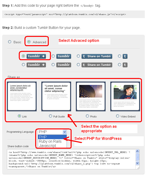 Tumblr Share Button - Advanced