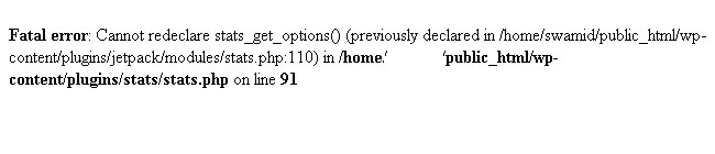Fatal error: Cannot redeclare stats_get_options