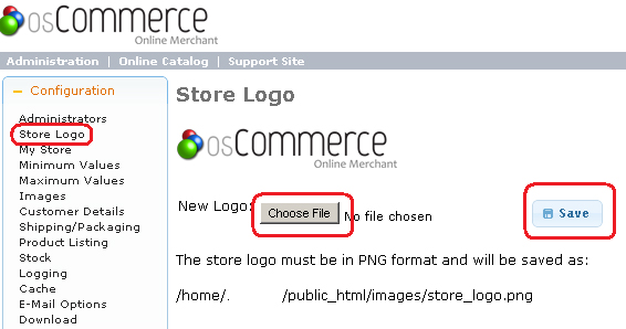 osCommerce - Change Store Logo from Admin