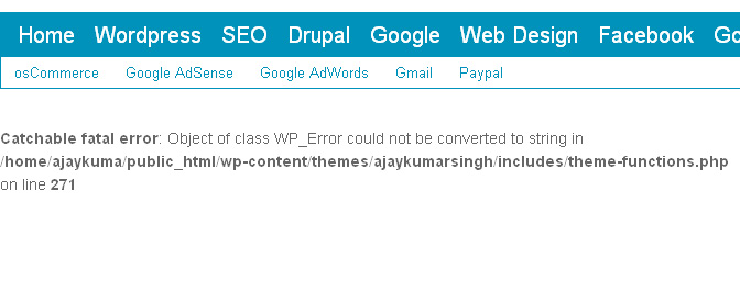 WordPress Error: Catchable fatal error Object of class WP_Error could not be converted to string in
