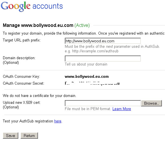 Google Accounts - Manage Domain