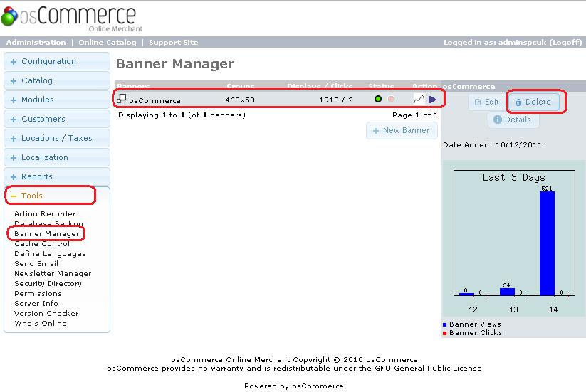 Delete osCommerce Banner From Admin