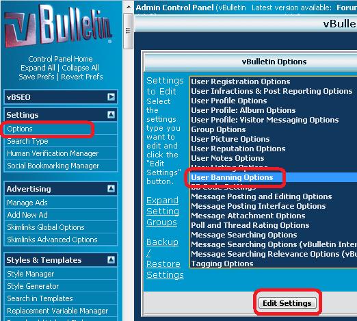 vBulletin IP Address Blocking