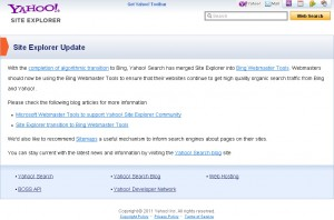 Yahoo Site Explorer Shut Down