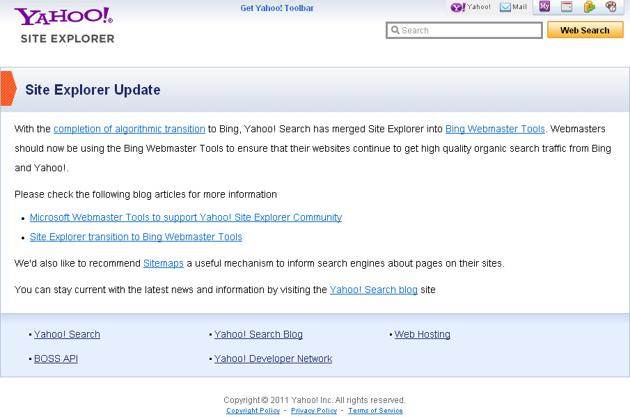 Yahoo Site Explorer Shut Down