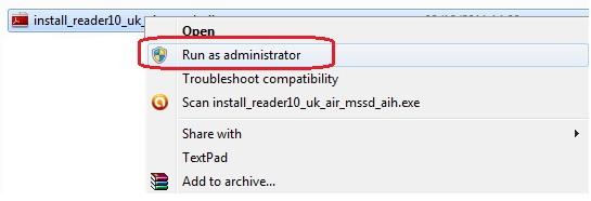 Run Adobe Reader Installer as Administrator
