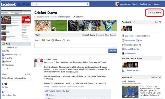 Facebook Page - Edit Page