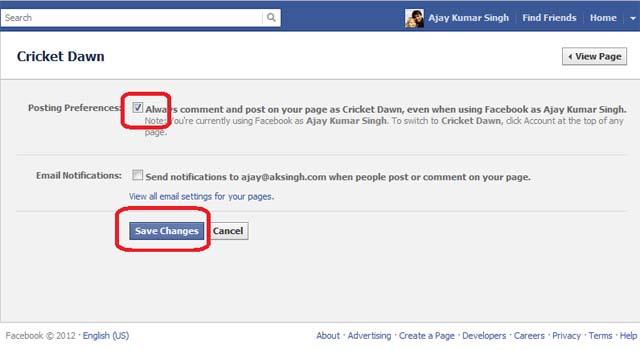 Facebook - Edit Page - Your Settings