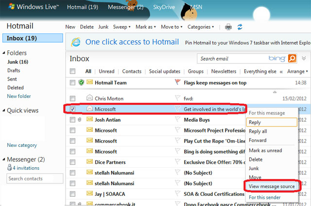 Hotmail - Find Senders IP Address