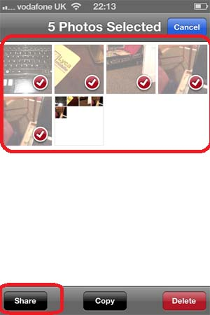 Select up to maximum 5 photos and then tap on Share