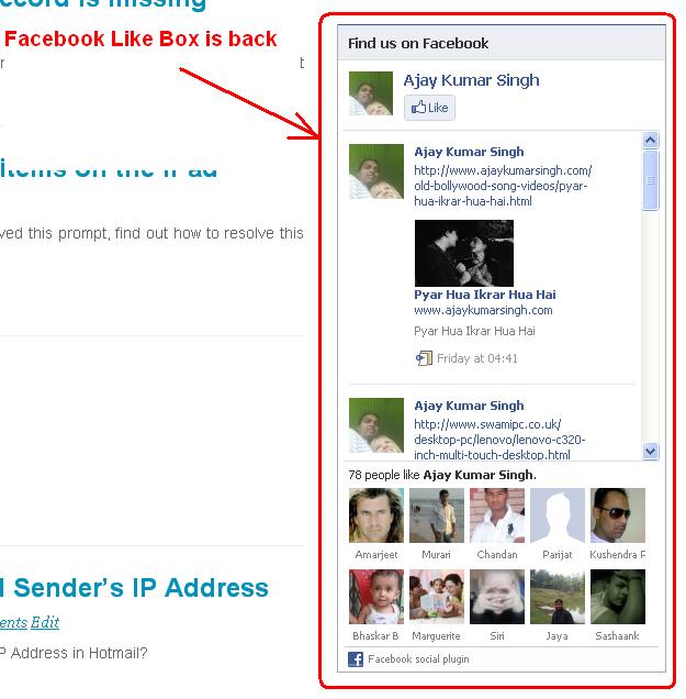 Facebook Like Box is live again