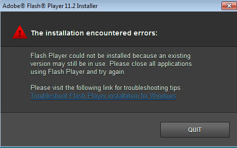 Adobe Flash Player installation error